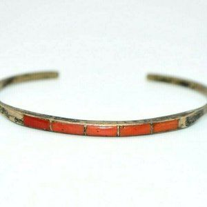 Dead Pawn Sterling Silver Red Coral Cuff Small